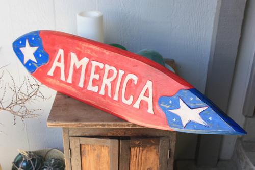 "Americana Surf Sign ""America"" - Hand Carved 40"" - USA"