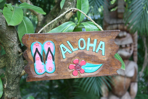 """ALOHA"" W/ SLIPPERS DRIFTWOOD SIGN 12"" - POOL DECOR"