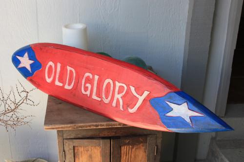 "Americana Surf Sign ""Old Glory"" - Hand Carved 40"" - USA"
