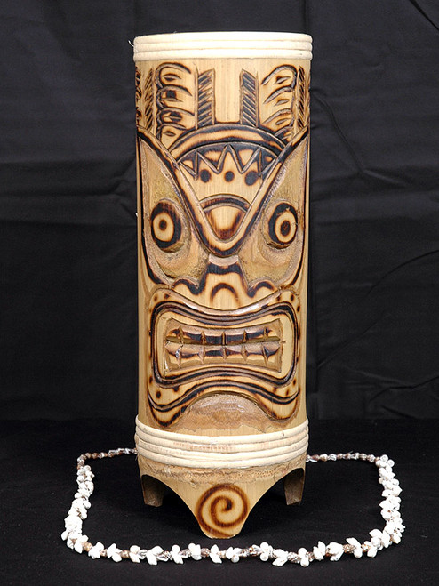 "TIGER BAMBOO TIKI VASE 12"" - TROPICAL DECOR"