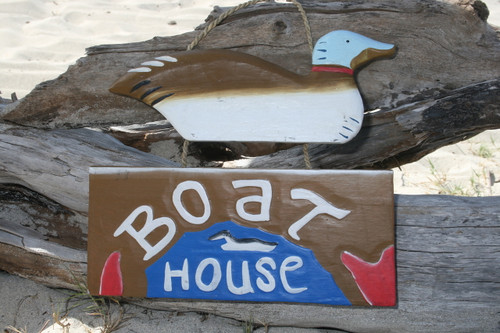"""BOAT HOUSE"" LAKE HOUSE SIGN 15"" - NAUTICAL DECOR"