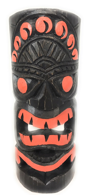 "Orange Sunset Tiki Mask 12"" - Carved/Painted 