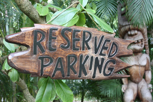 """RESERVED PARKING"" DRIFTWOOD SIGN 30"" - TROPICAL ACCENTS"