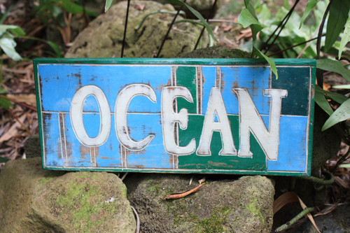 "NAUTICAL SIGN ""OCEAN"" WEATHERED 14"""