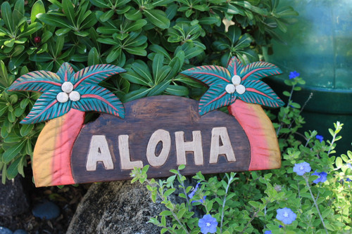 "WELCOME SIGN ""ALOHA "" W/ PALM TREES - COASTAL DECOR"