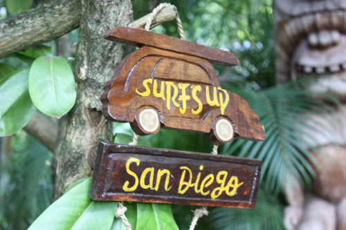 """SURF'S UP, SAN DIEGO"" WOODY CAR SIGN 10"" - TIKI BAR"