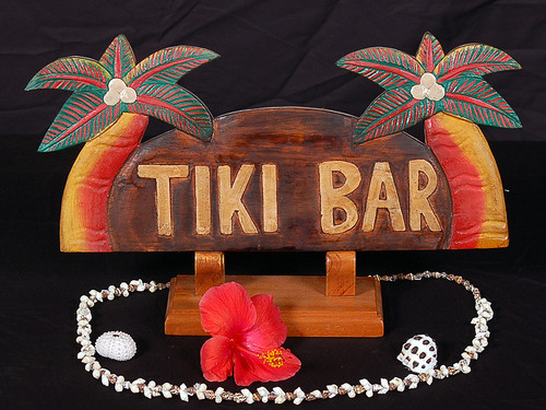 "WELCOME SIGN ""TIKI BAR "" W/ PALM TREES - COASTAL DECOR"