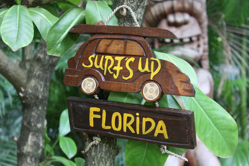 """SURF'S UP, FLORIDA"" WOODY CAR SIGN 10"" - TIKI BAR"