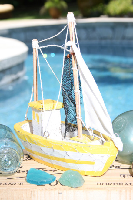 """FISHING BOAT"" YELLOW COASTAL 10"" - HAND CARVED - COASTAL DECOR"