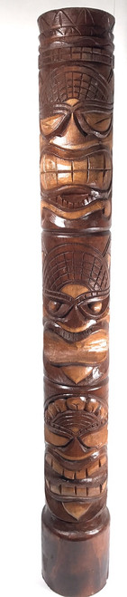 "Happy, Love & Prosperity Tiki Totem 60"" Antique Finish - Hand Carved 
