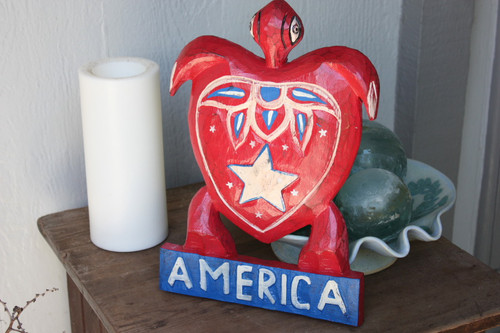"Wooden Turtle ""America"" 12 inch - Americana Decor"