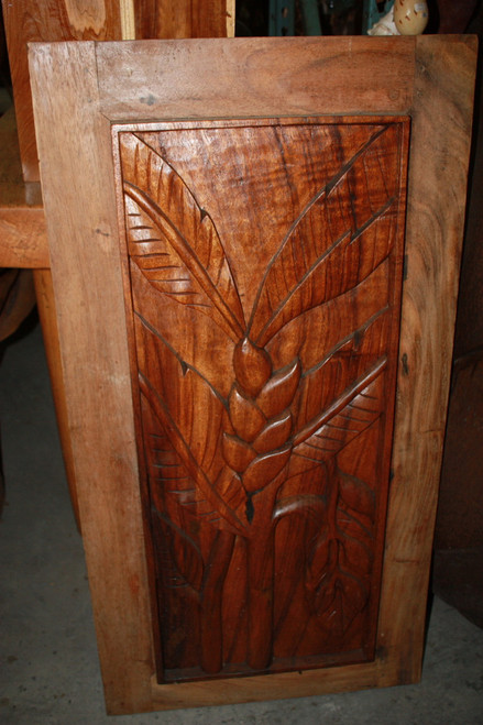 "Carved Wood Panel 40"" Floral Tropical Design | #bla6051100"