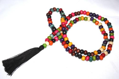 Tassel Necklace Buddha Multi-Colored Wooden Beads Jewelry | #cik3601mc