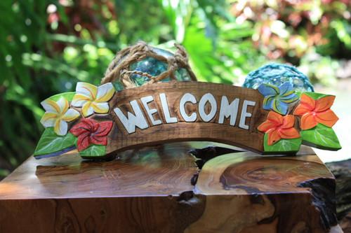 Quot Welcome Quot Sign W Plumeria Flowers 12 Quot Hawaiiana Decor