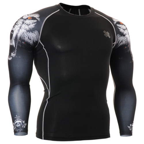 Fixgear compression skin tight wolf printed base layer black tee shirt