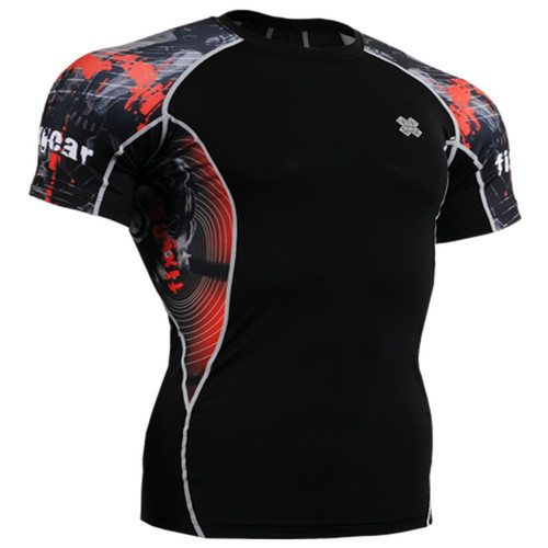 Fixgear printing running tight black base layer short sleeve