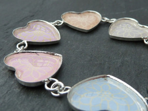 Silver Plated Heart Link Bracelet with Epoxy Stickers