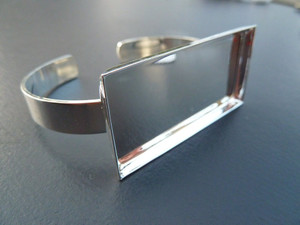 Silver Plated Bangle with 25x50mm Rectangular Bezel