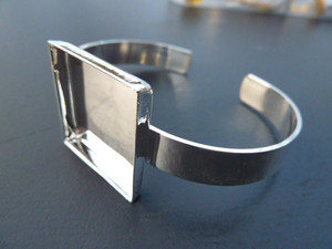 Silver Plated Bangle with 25mm Square Bezel