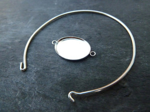 Sterling Silver Bangle with Oval Glass 13x18mm