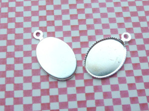 Silver Plated Oval Charm Blanks - 13x18mm (10pk)
