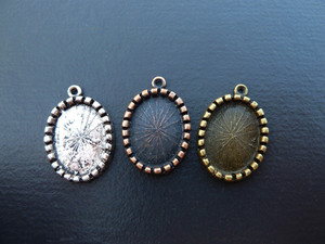 Ornate Oval Pendant Blanks for 13x18mm cabochon
