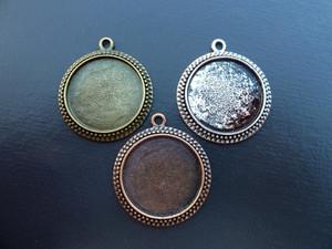 Ornate Round Pendant Setting Blanks 25mm