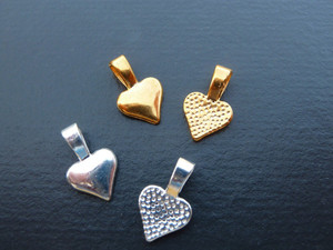 Beautiful Heart-Shaped Glue-on Bails