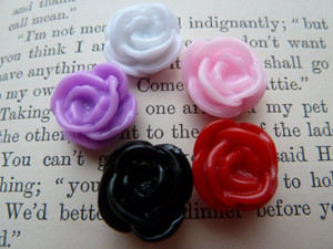 Rose Flower Resin Cabochons 15x7mm