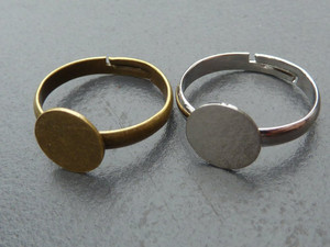 Ring Blanks with Pad - Silver or Bronze Tone