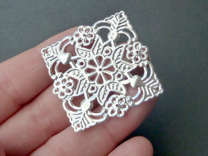Square Silver filigree