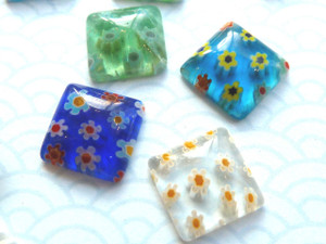 Little Millefiori Glass Squares 9mm