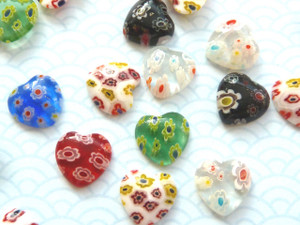 Millefiori Glass Hearts 12mm