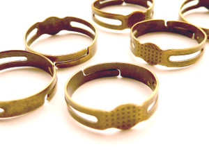 Pad rings antique bronze - small