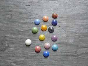 Colourful Glass Cabochons ca. 6.5mm