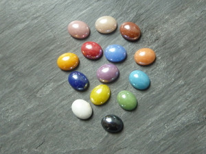 Colourful Glass Cabochons 8x10mm Oval