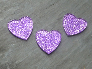 Heart shaped sparkled Resin Cabochons 21mm