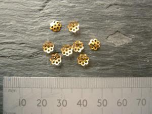 Golden Filigree Flower Bead Caps