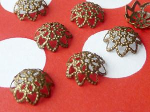 Filigree flower bead caps 10mm