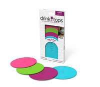 Drink Tops™ Tap & Seal Outdoor Drink Covers 4-pack