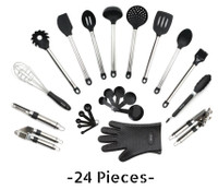 Utensils Set - 24-Piece Complete Silicone & Stainless Steel Cookware Set