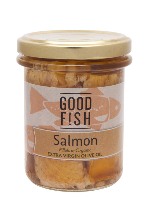 SALMON FILLETS in Organic Extra Virgin Olive Oil 195g Glass Jar