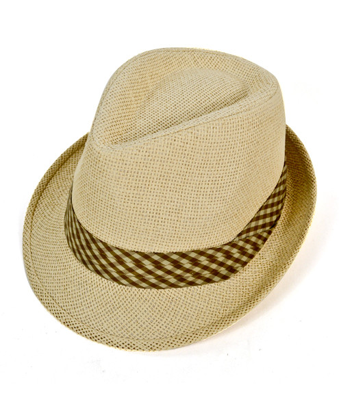 3a4f9341f56 6pc Men s Natural Paper Poly Checkered Dark Brown Band Fedora Hats by  Westend