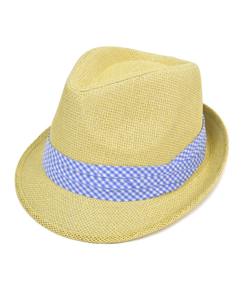 5d881e4bd00 6pc Men s Natural Paper Poly Big Checkered Blue Band Fedora Hats by Westend
