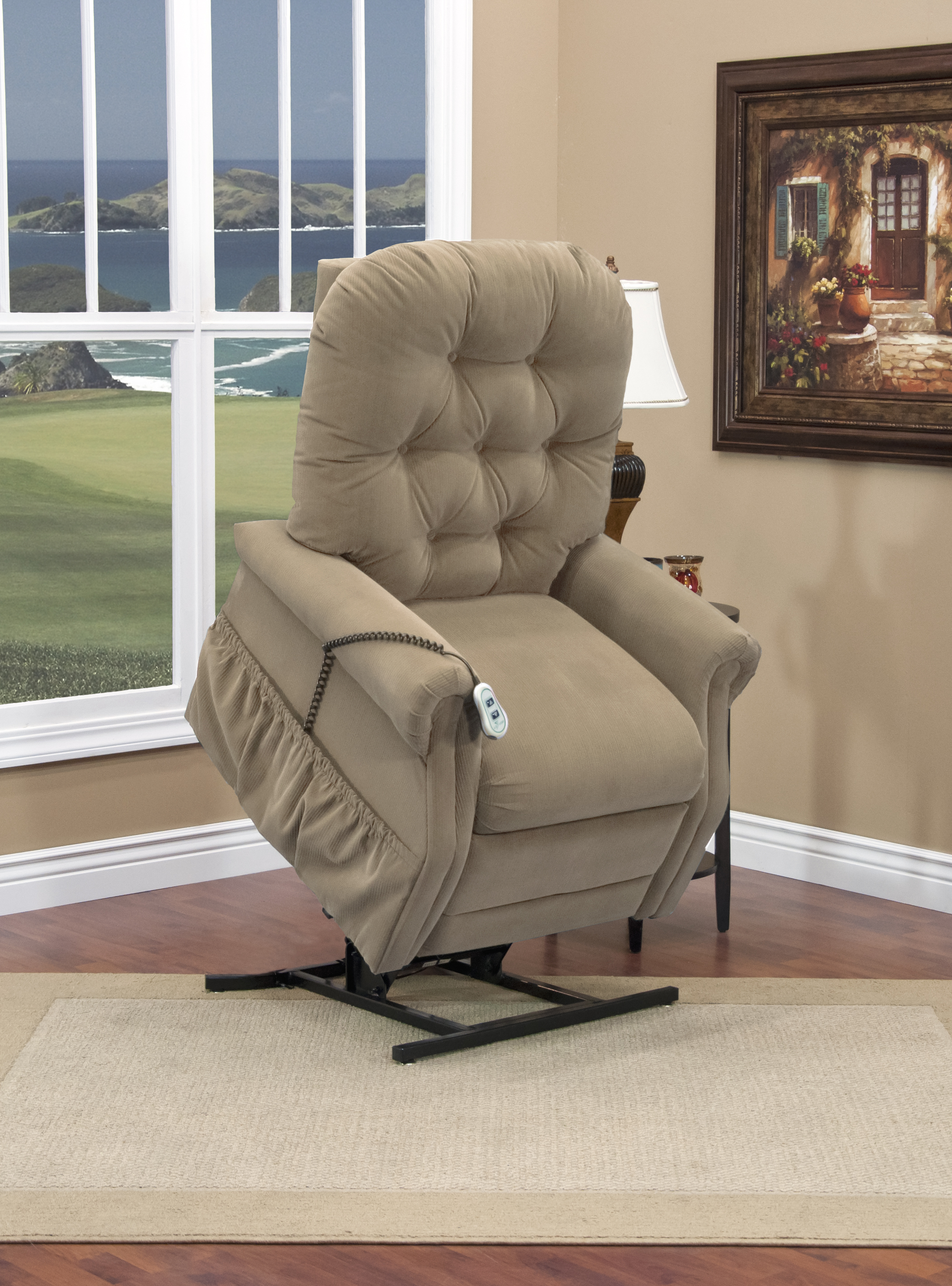 lift microsuede power search the position chairs brown brick padded chair recliner