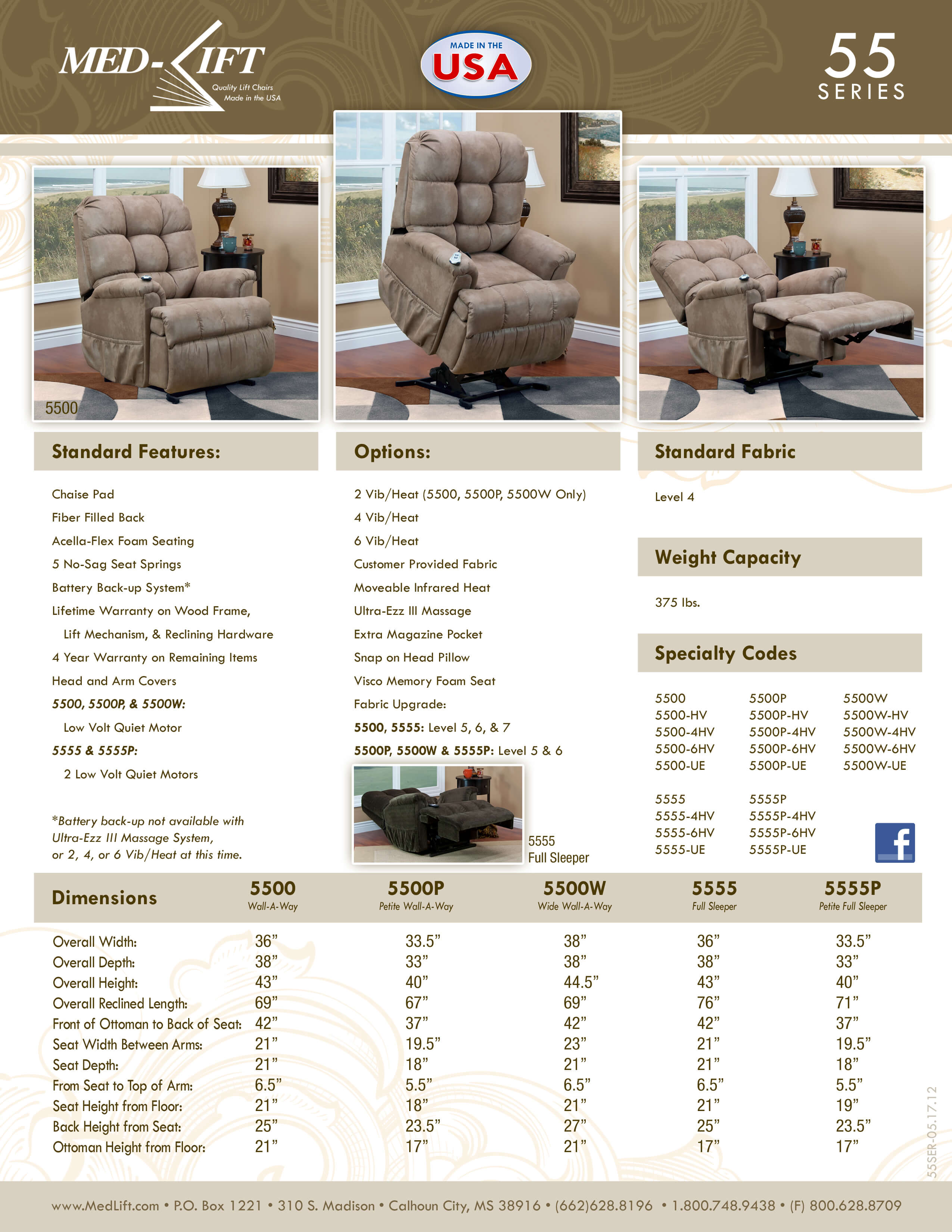 5555 Full Sleeper Infinite Position Reclining Lift Chair by Med