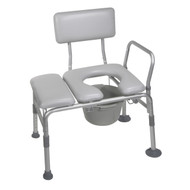 Padded Seat Transfer Bench with Commode Opening By Drive