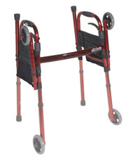"""Portable Folding Travel Walker with 5"""" Wheels and Fold up Legs By Drive"""