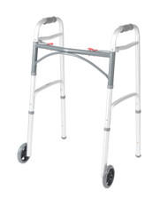"""Deluxe Two Button Folding Walker with 5"""" Wheels By Drive"""