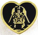Star Wars Darth Vader Gold Heart Shaped Pin 1 inch